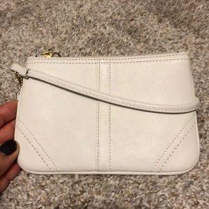 New coach cream leather wristlet lavender inside